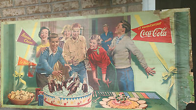 """RARE 1952 LARGE TWO SIDED CARDBOARD COCA COLA SIGN by BILL GREGG 56"""" x 28"""""""