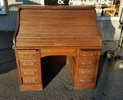 Antique Quartered Oak  S Roll Top Secretaries Desk  Circa  Stamped 1892
