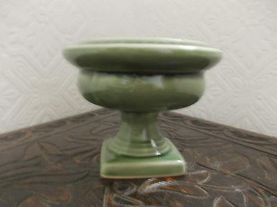 Vintage Dartmouth Pottery 161A Green Urn Posy Vase With Lead Frog.