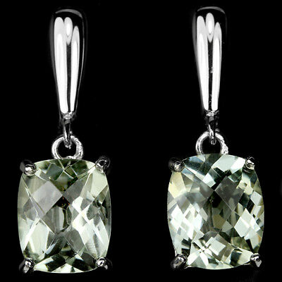 Natural 12X10 Mm. Green Amethyst Checker Bord Table Sterling 925 Silver Earring