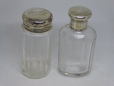 Two Antique Silver Topped Dressing Table Glass Jars / Bottles - Dorothy