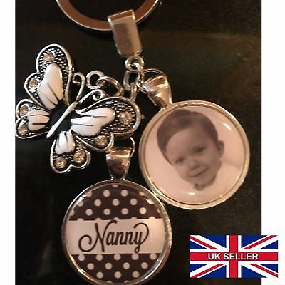Personalised Photo Keyring Polka Butterfly Mothers Day Present Birthday Gift Box