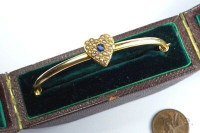 ANTIQUE EDWARDIAN ENGLISH 15K GOLD SAPPHIRE & PEARL HEART BANGLE c1900 BOXED