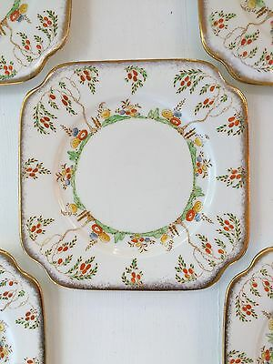 Bell China Vintage Retro Set Of Hand painted Cake Plates Five Made In England