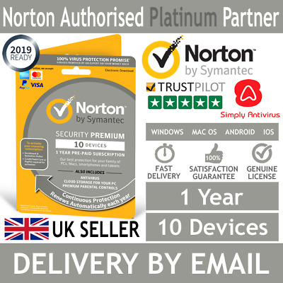 Norton Security Premium 2019 10 Devices + Backup 1 Year *5 Min Delivery by Email
