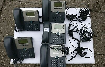 CISCO IP Phone SPA504G + headsets JOB LoT x5 + Ethernet Cables