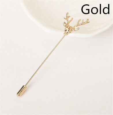 Antique Gold Hunting Buck Deer Head Stag Lapel Stick Pin Tie Hat Brooches New