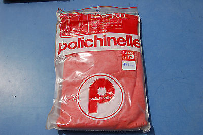CLOTHING VINTAGE UNDER SWEATER CHILD 10 years Polichinelle red and white garage
