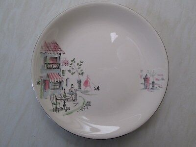 Alfred Meakin large dinner plate in the Montmartre Paris scene design