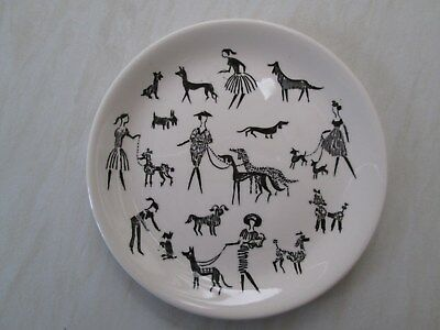 Alfred Meakin side plate in a design showing ladies walking dogs poodles etc