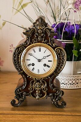 ANTIQUE FRENCH BRASS BOULLE BELL CHIMING MANTLE CLOCK c1880