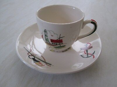 Alfred Meakin coffee / espresso cup and saucer in the Brixham fisherman design