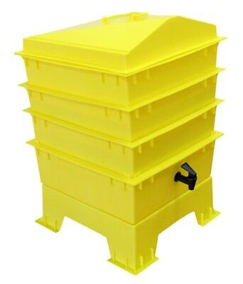 Yellow DELUXE WORMERY KIT, 3 x Stacking Tray, Worm Composter, Treats,Compost NEW