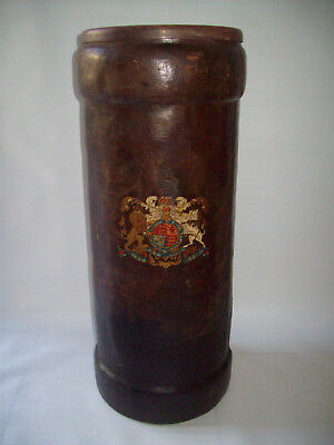 antique leather CORDITE BUCKET - ENGLISH COAT OF ARMS