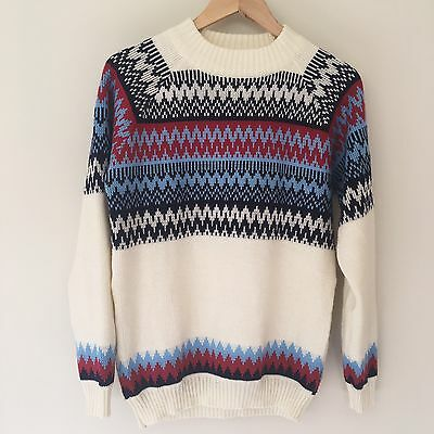Vintage Knitted Jumper With Red And Blue Detailing M