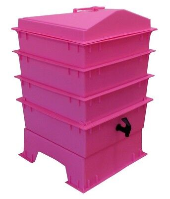 Pink DELUXE WORMERY KIT, 3 x Stacking Tray, Worm Composter, Treats, Compost NEW