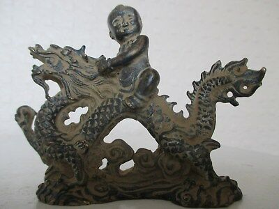 Beautiful Old Chinese Oriental Bronze Figure of a Young Boy Riding a Dragon
