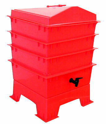 Red DELUXE WORMERY KIT, 4 x Stacking Tray, Worm Composter, Treats, Compost NEW