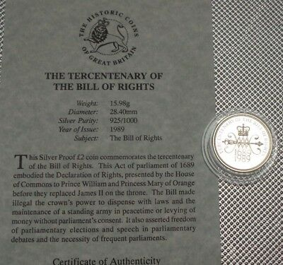 1989 Royal Mint Silver Proof £2 Coin Tercentenary The Bill Of Wrights & Coa