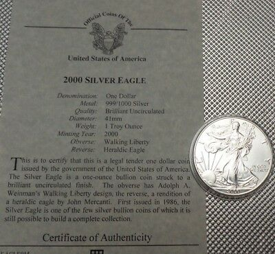 2000 Usa  $1 Coin 999 Silver  1 Oz Walking Liberty {13}