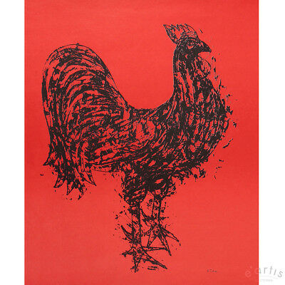 Karl Rödel Original Grafik Lithografie Gallo Hahn Rot Limitiert Vp: 400,-€