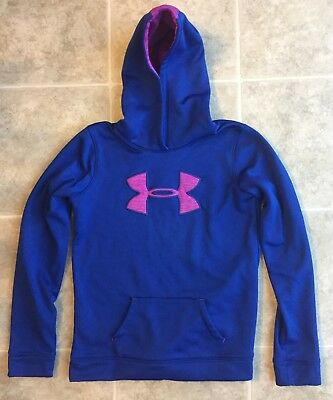 Under Armour Girls Pullover Hoodie Purple/Blue Pink Logo Size Large