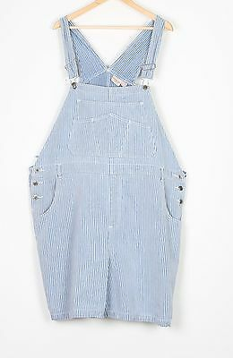 Denim Dungarees Shorts UK 24 5XL Fitted     22 4XL Oversized Blue (74G)