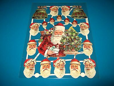 Vintage Style Die Cut  Paper Scraps New ... Father Christmas/sleigh/bells/tree