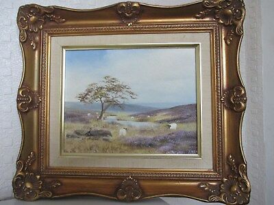 Yorkshire Landscape Artist Brian Richardson Oil Painting with Sheep - Gilt Frame