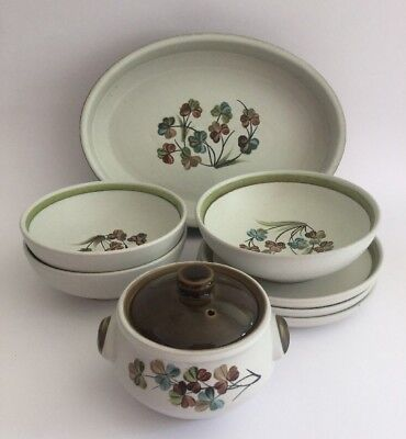 DENBY 'Shamrock' Large Serving Dish Fruit Bowl & Soup Bowl