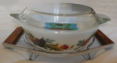 Vintage Retro PYREX 509D Opal Casserole Dish with Stand (UNUSED and BOXED)