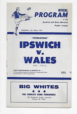 Ipswich V Wales 1975 Rugby League Tour Programme England Australia