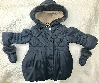 Girls Junior J Jasper Conran Fur Lined Coat / Jacket wi Mittens Age 2-3 Yrs VGC