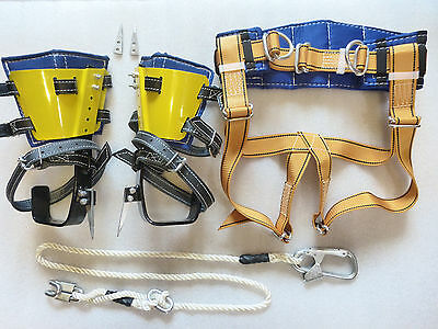 Tree Climbing Spike Set with Adjustable Gaffs, Safety belt, Lanyard