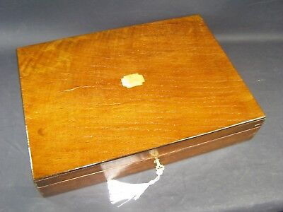 Large Antique Oak Document Box Working Lock & Key 1890 Brass Center Piece
