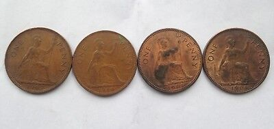 4 X Collectible old  one penny coins