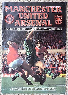 MANCHESTER UNITED v ARSENAL - FA CUP SEMI-FINAL, 16.4.83 - FOOTBALL PROGRAMME