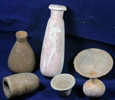 A collection of six old flasks, vessels and bowls, age unknown