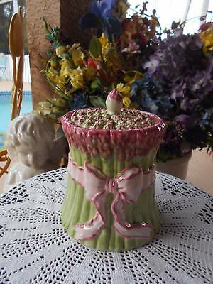 "ceramic majolica pottery ASPARAGUS COOKIE JAR greens pinks 8 1/4"" tall"