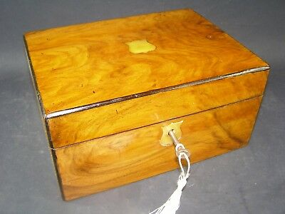 Antique Walnut Box Working Lock & Key 1870 Mother Of Pearl Shield Center Piece