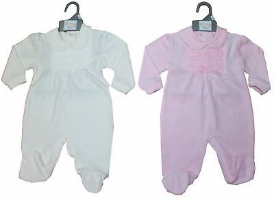 Baby Girl clothes Romper Sleepsuit All in One Pink velour bow 0-3m 3-6m 6-9m