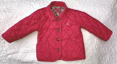 Girls Joules Pink Quilted Coat / Jacket Floral Lining VGC 12-18mths