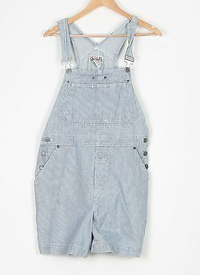 Denim Dungarees Shorts UK 12 Medium Fitted   10 Small Oversized Blue (74D)