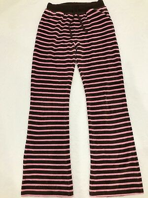 Girls Mini Boden Brown and Pink Stripe Velour Sweatpants Age 11-12 Years VGC