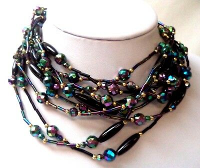 "Stunning Vintage Estate Blue Green Purple Tone Beaded 29 1/2"" Necklace!!! 6756F"