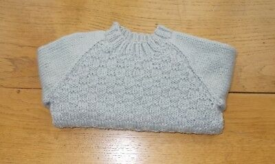 "HAND KNITTED BABY BOYS JUMPER 18"" (45cm)CHEST SILVER GREY BNWOT"