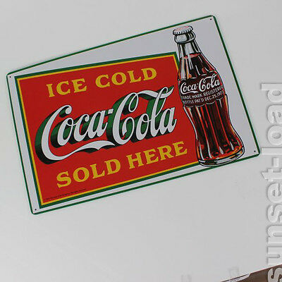 Coca Cola Blechschild Repro Werbetafel ʺIce cold Coca Cola Sold Hereʺ