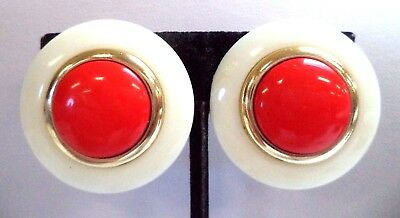 """Stunning Vintage Estate Red White Lucite Round Clip 1 1/4"""" Earrings!!! 7883A"""
