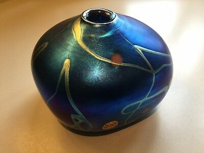 A Colin Heaney iridescent studio glass vase. Australian. Fully signed & dated.