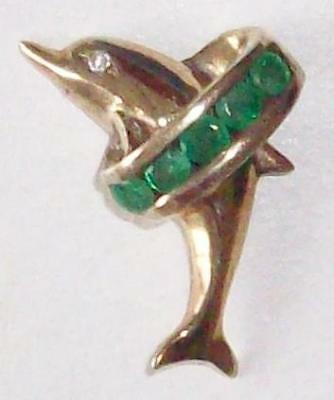 Vintage 1950S Beautiful Genuine Emeralds Gold - Silver Dolphin Fish Pendant